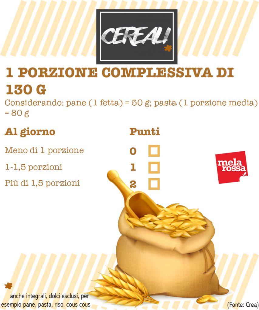 dieta mediterranea test valutazione aderenza: consumo cereali