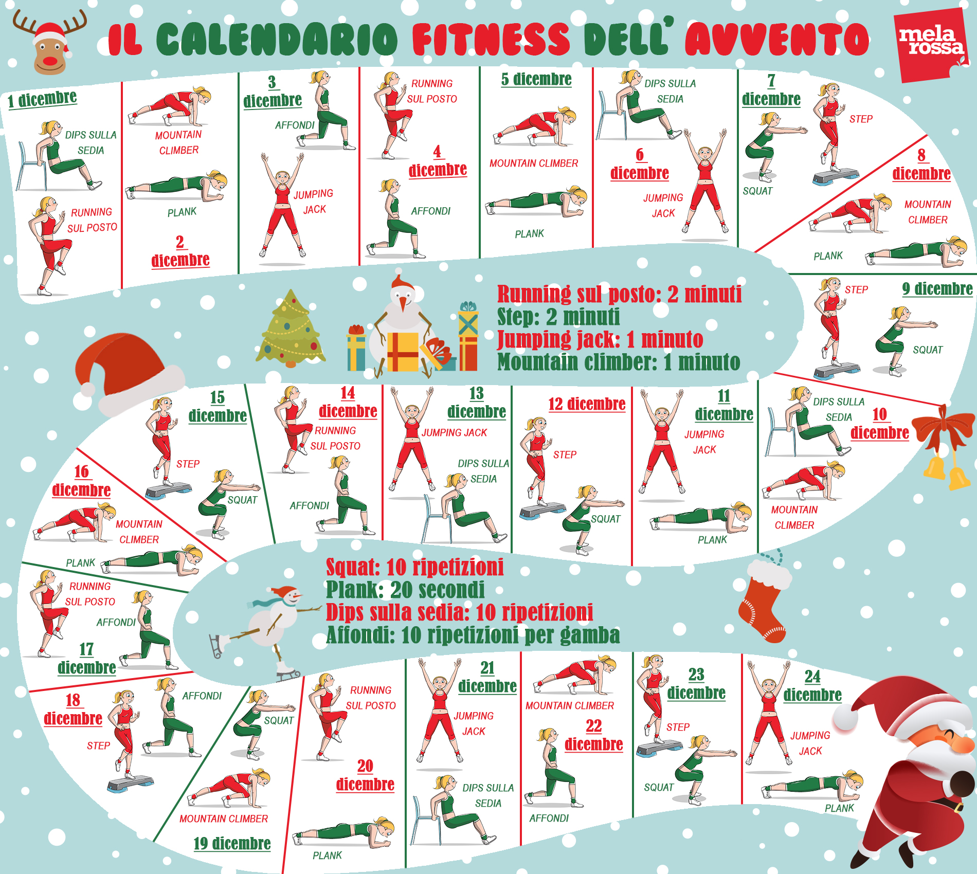 calendario dell'Avvento fitness