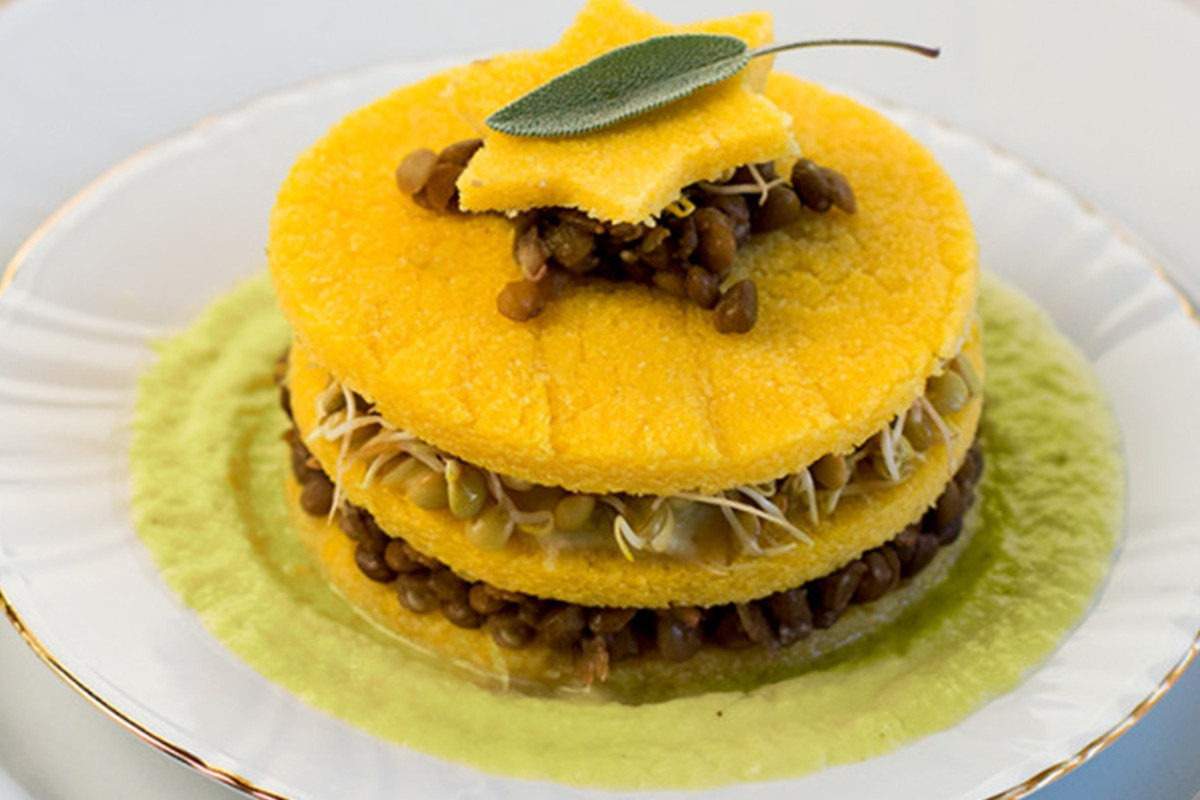 torretta polenta e lenticchie