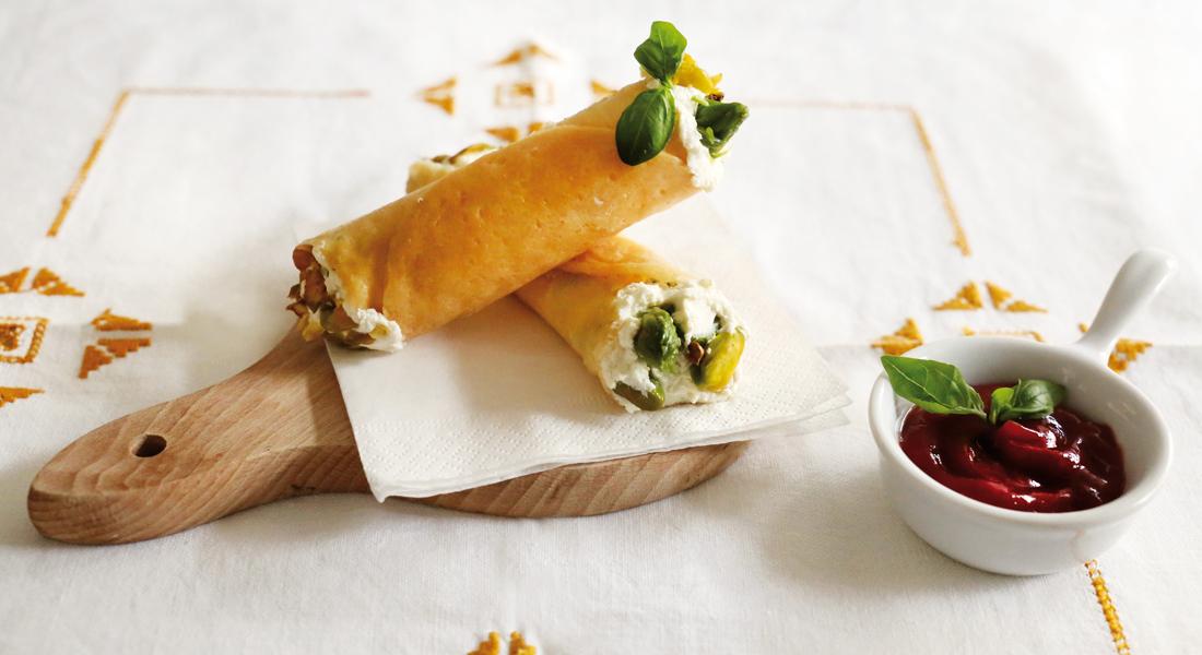 cannoli con asparagi e pistacchio