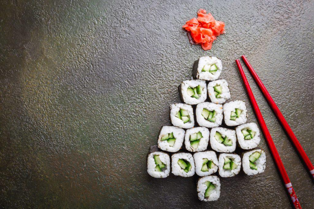Natale 2019 antipasti albero: sushi christmas tree