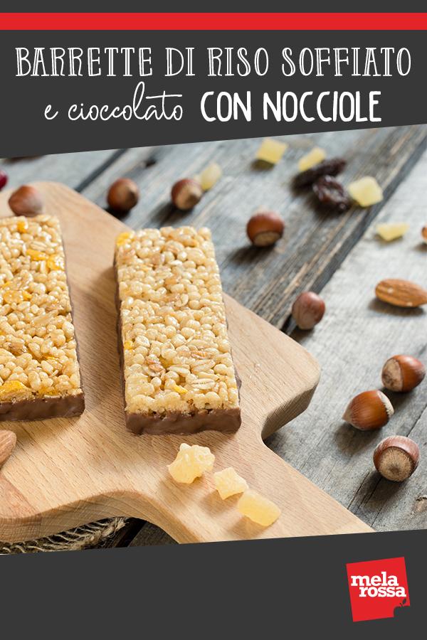 barrette di riso soffiato con cioccolato e nocciole