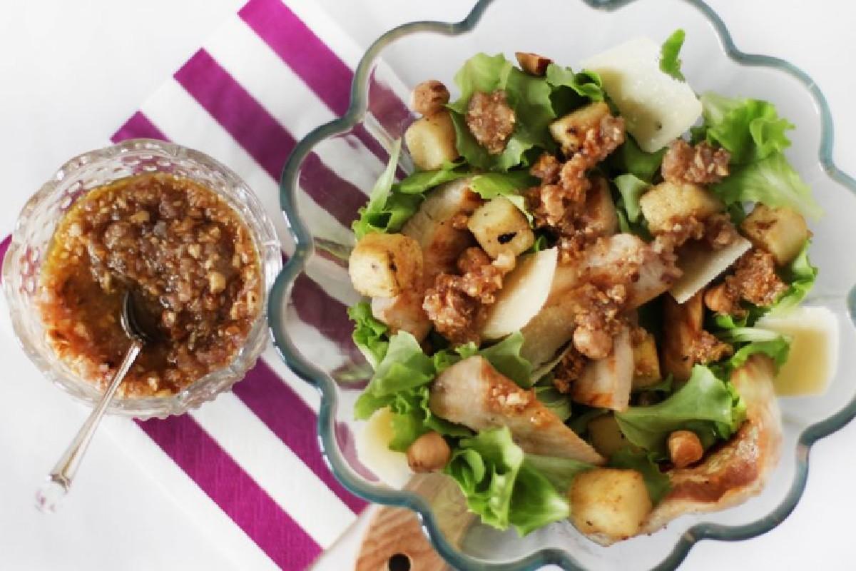 insalata pollo polenta salsa di nocciole