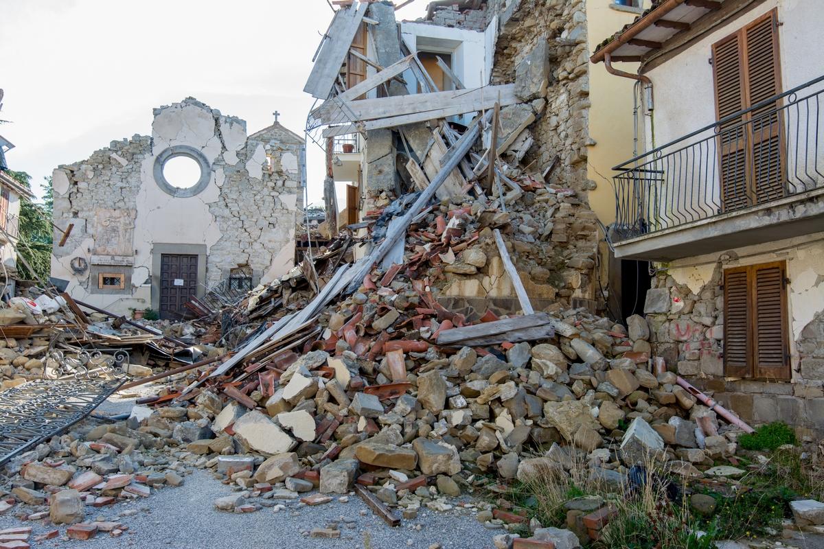 Macerie dopo un terremoto