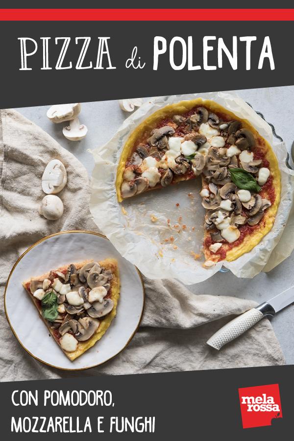 pizza di polenta con pomodoro mozzarella e funghi pin