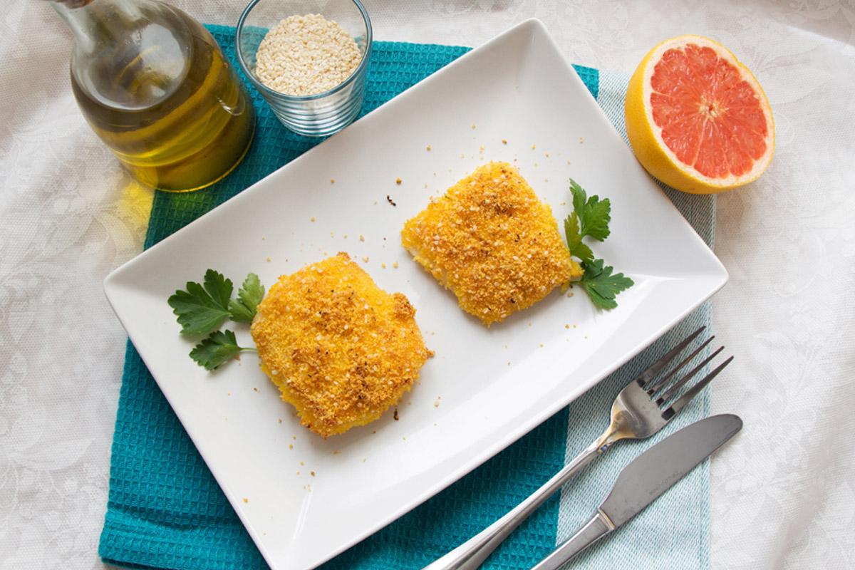 filetti di pesce persico con panatura di farina di mais