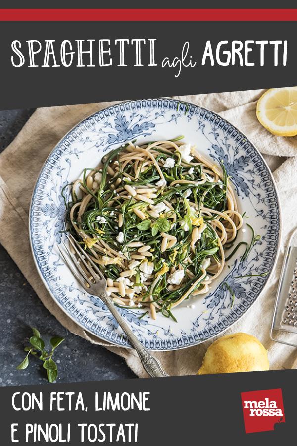spaghetti con agretti feta e pinoli