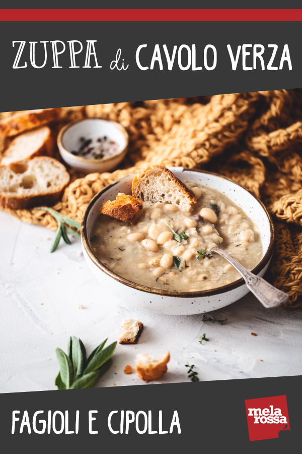 zuppa di cavolo verza, fagioli e cipolla