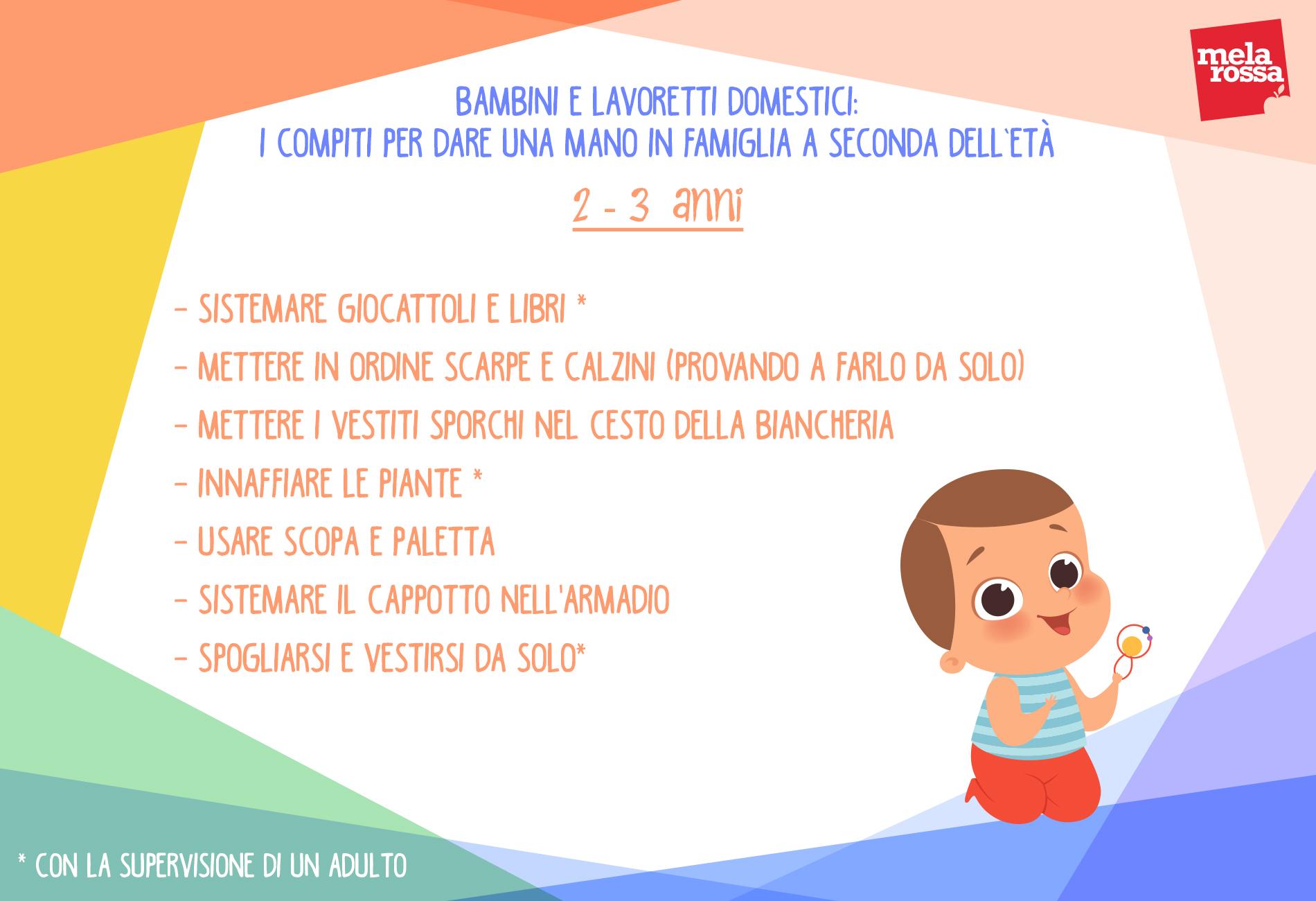 Bambini e lavoretti domestici: compiti 2-3 anni di età