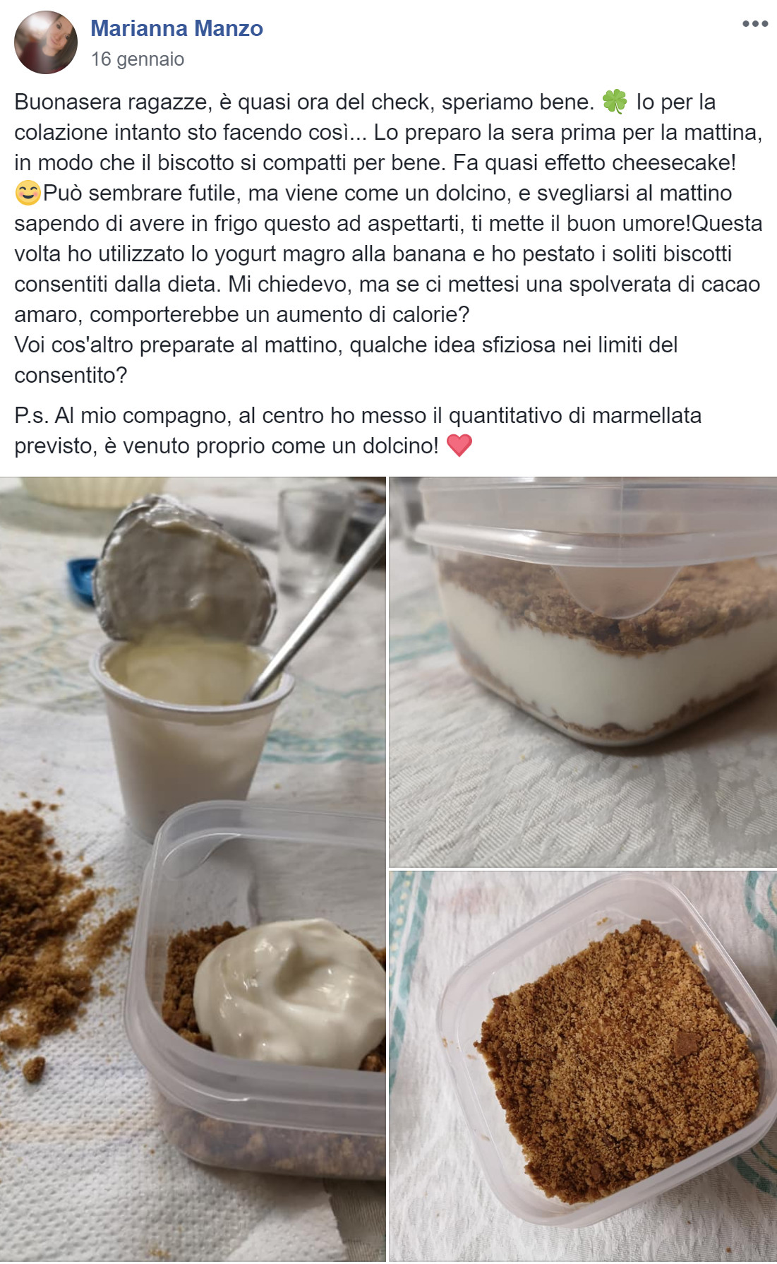 finta cheesecake ricetta marianna
