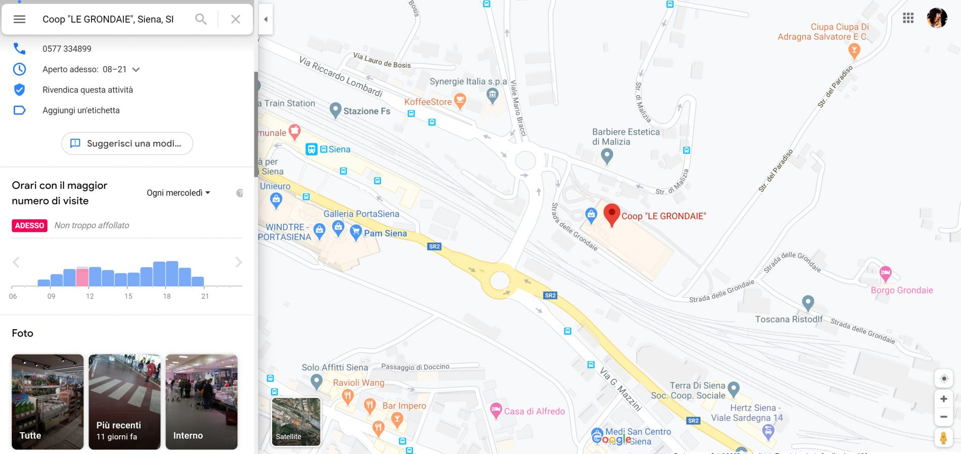 Google Maps trend affluenza supermercati