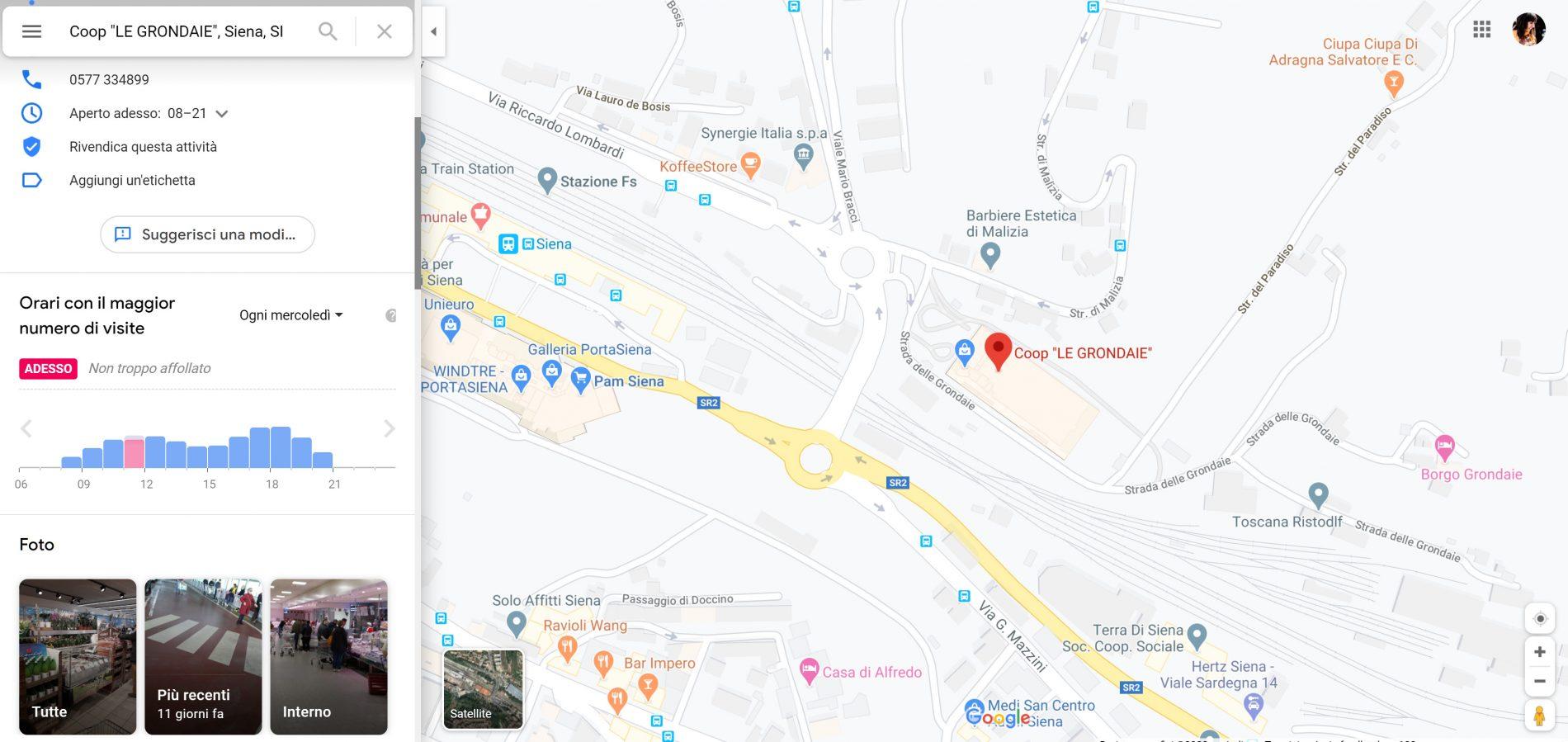 Google Maps trend affluenza supermercati
