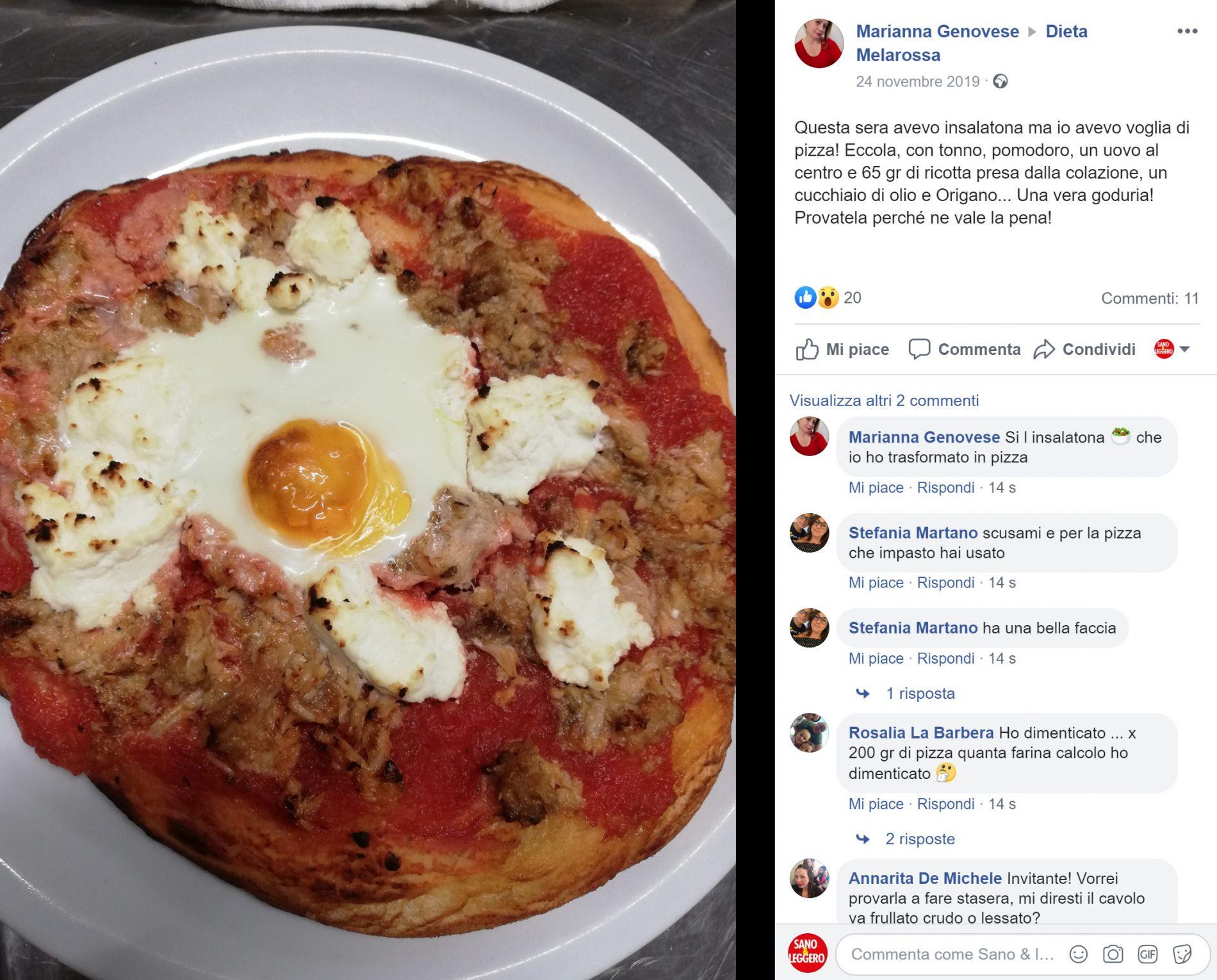 dieta melarossa: insalatona trasformata in pizza con uova e tonno