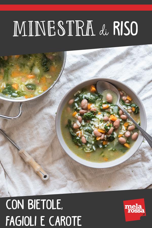 minestra di riso con bietola, fagioli e carote