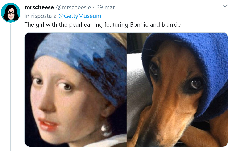 museo getty challenge ragazza orecchino di perla cane
