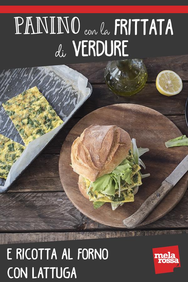 Panino con la frittata di verdure al forno e ricotta