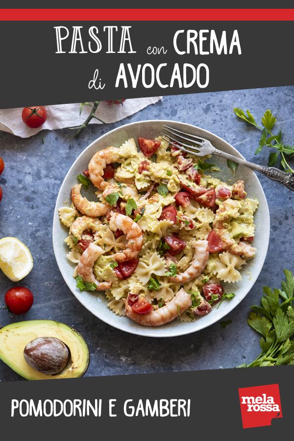 Pasta con crema di avocado e pomodorini