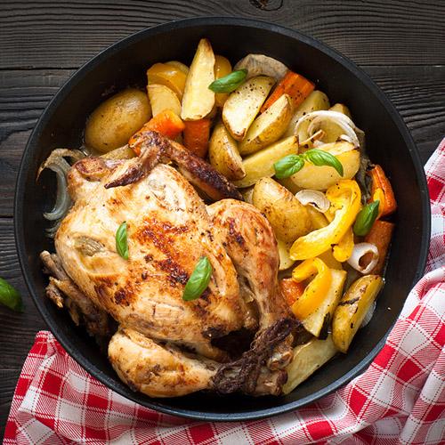 Pollo al forno con patate ricetta