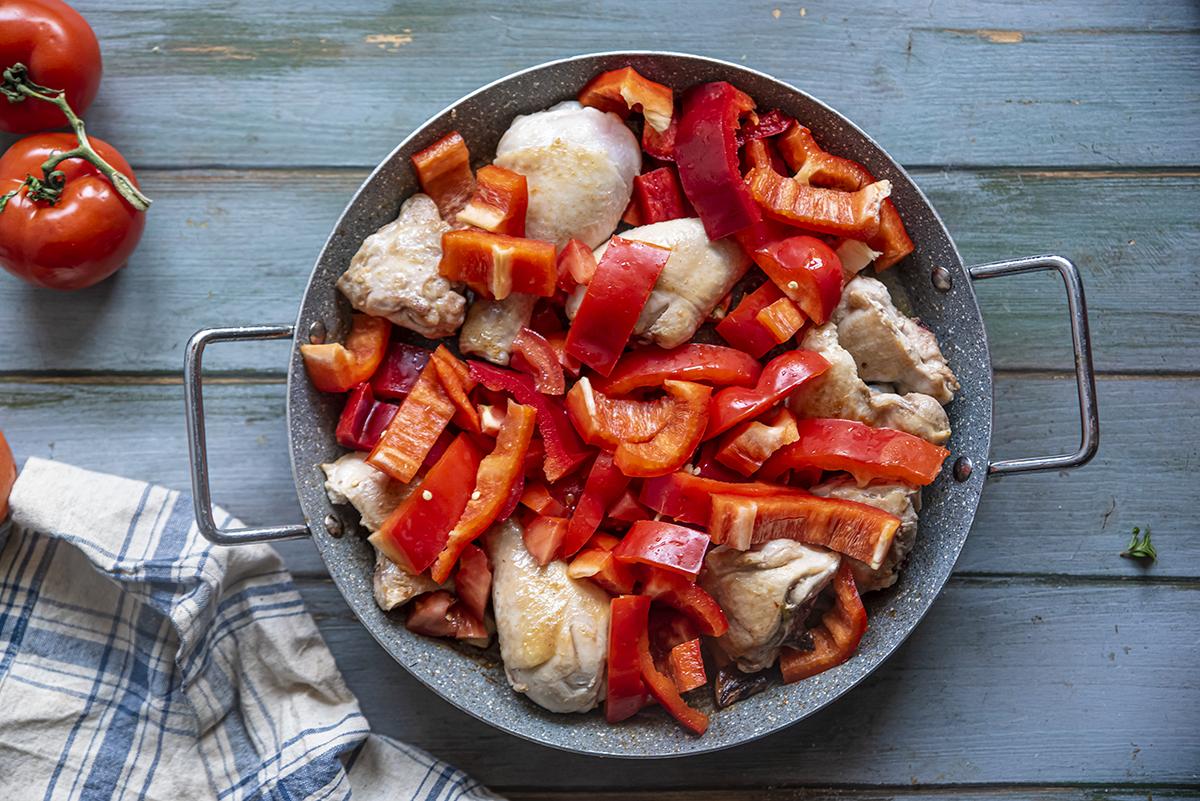 pollo e peperoni cottura