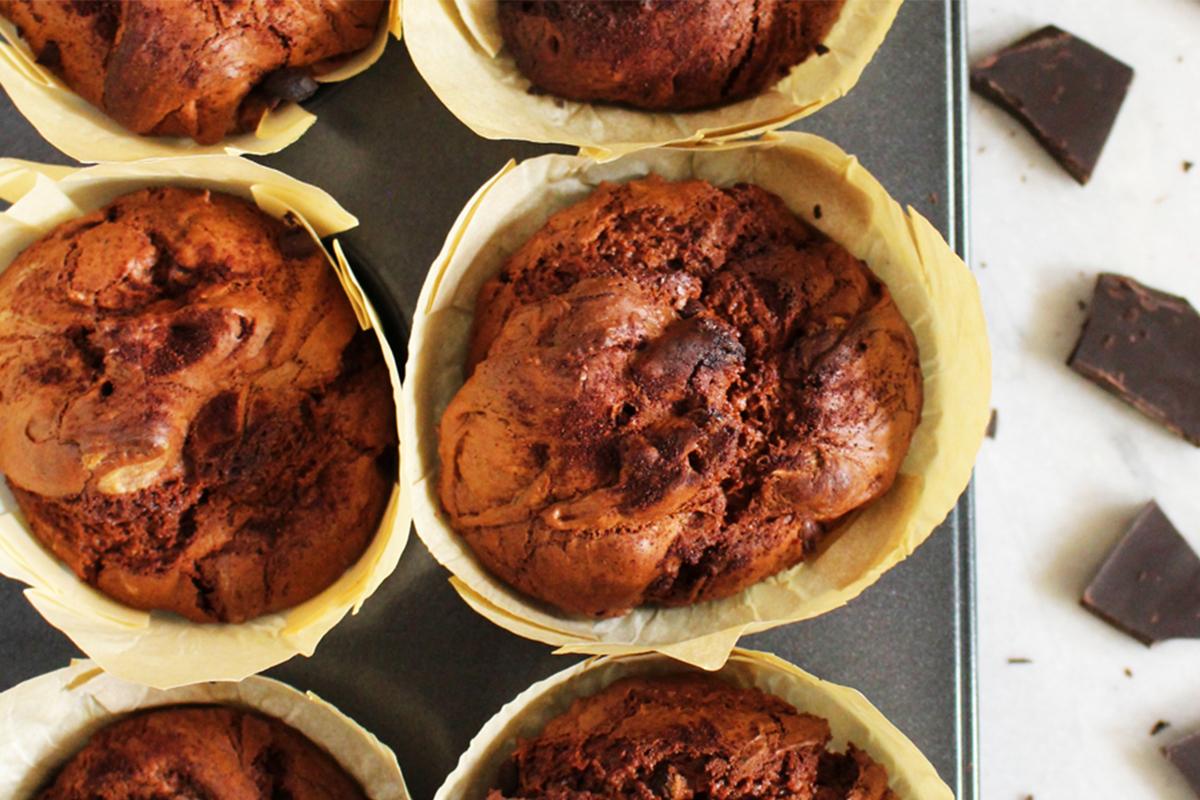 Ricette con cioccolato: muffin al doppio cioccolato senza burro