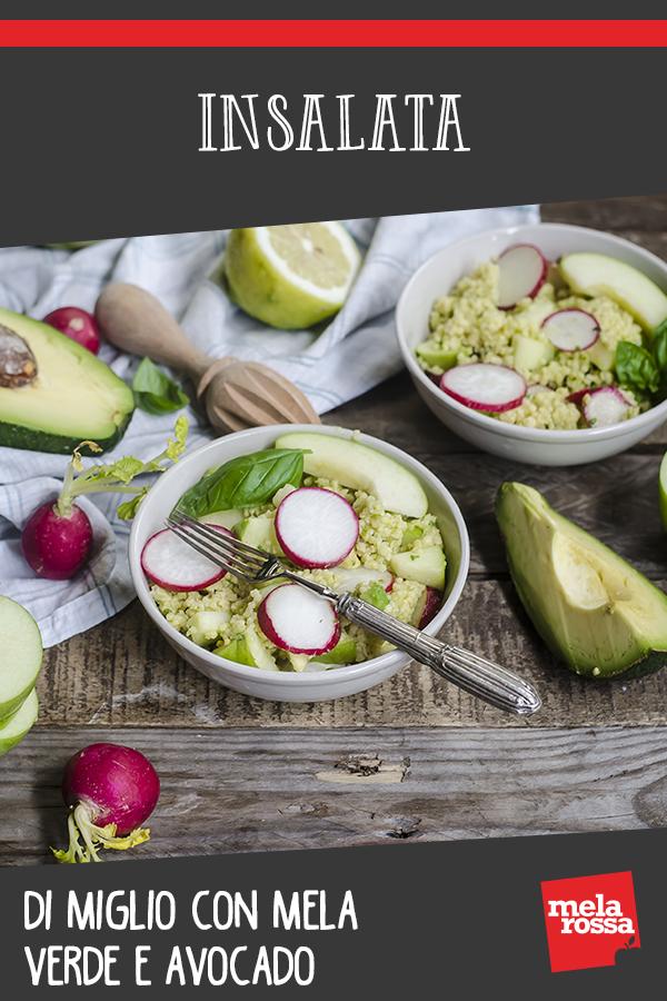 insalata di miglio, avocado e mela verde