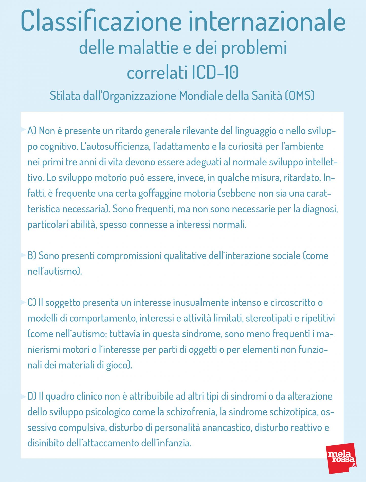 Classificazione : sindrome di Asperger