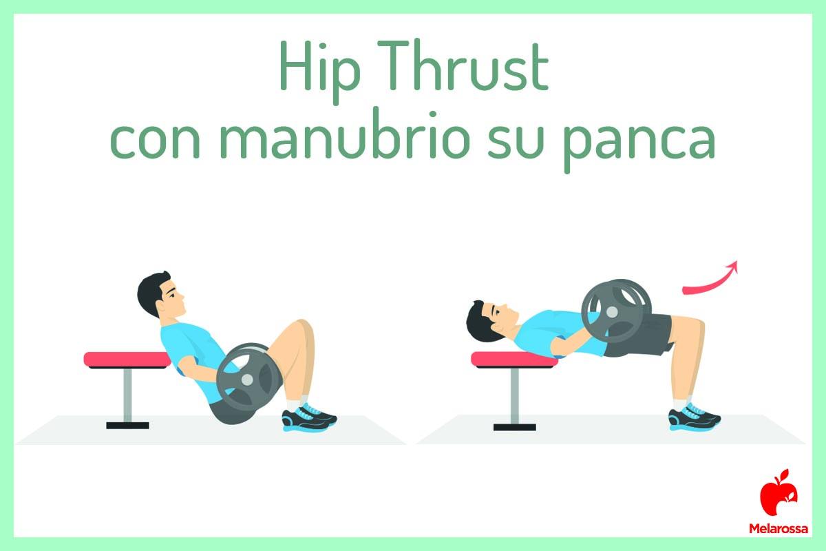 hip thrust: manubrio e panca