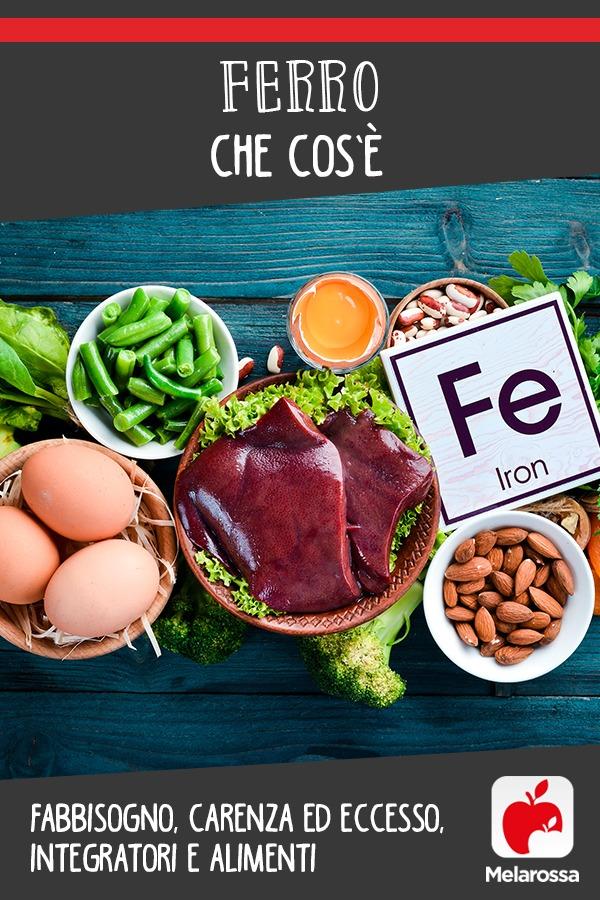 ferro: cos'è, fabbisogno, carenza, eccesso, integratori e alimenti