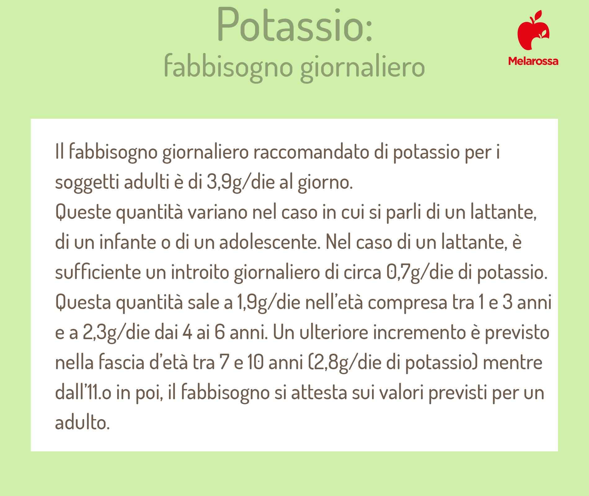 Potassio: fabbisogno giornaliero
