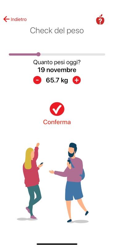 App Melarossa: check del peso.