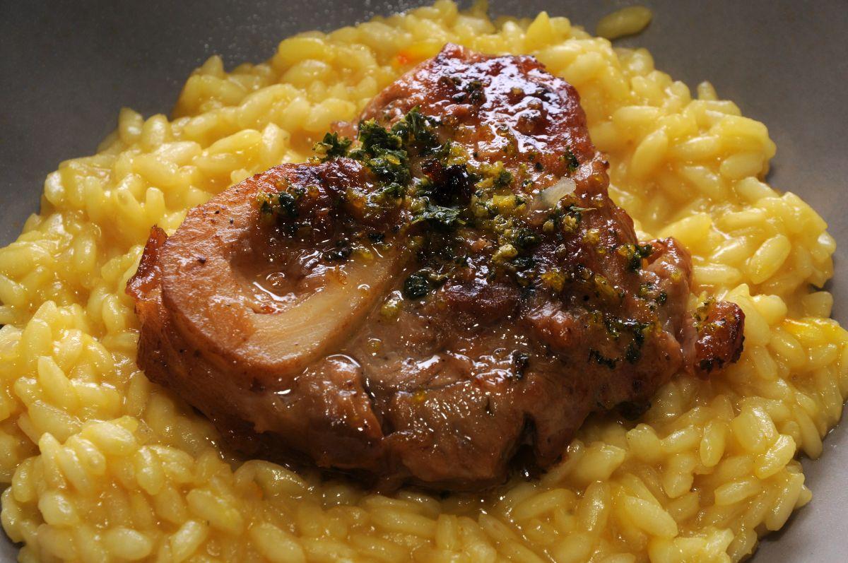risotto alla milanese con ossobuco