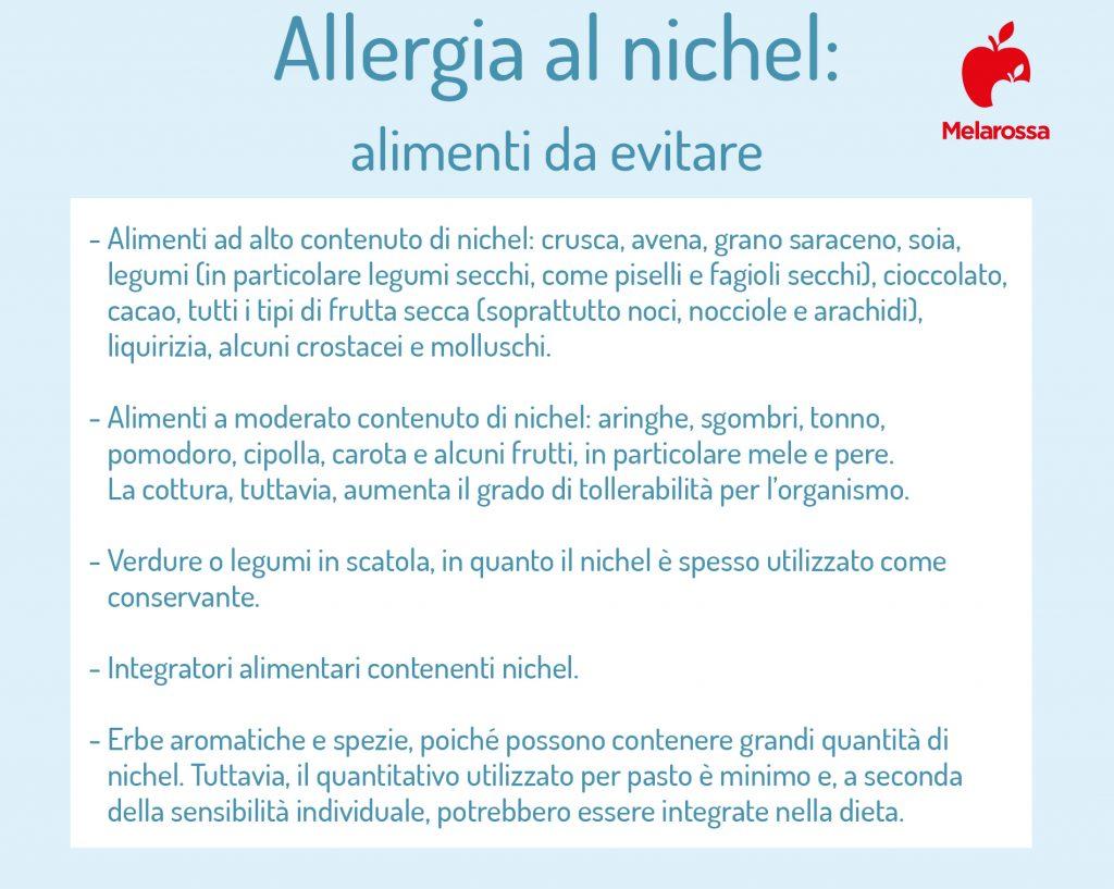 allergia al nichel: alimenti da evitare