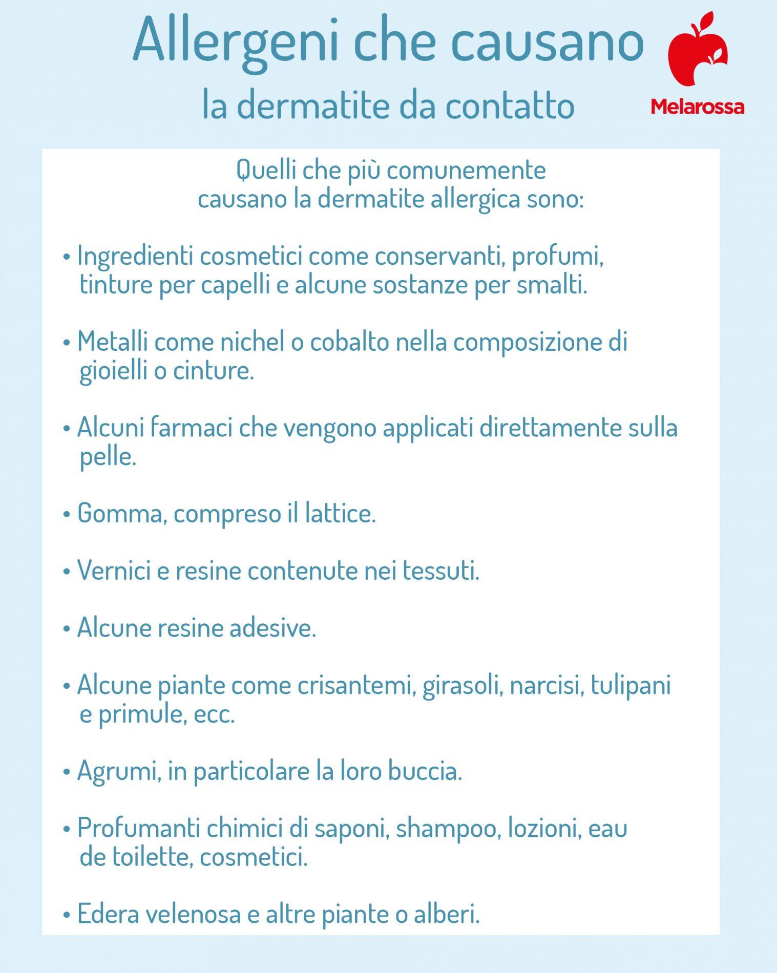 dermatite da contatto: allergeni