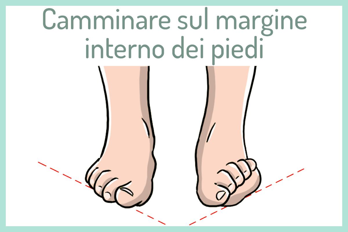 camminare sul margine interno dei piedi
