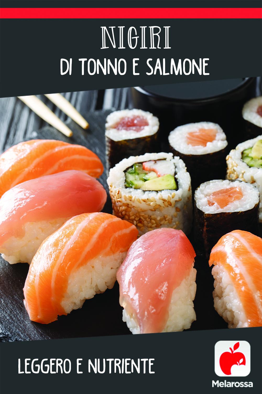Nigiri di tonno e salmone, leggero e nutriente