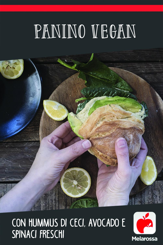 Panino vegan con hummus di ceci, avocado e spinaci freschi