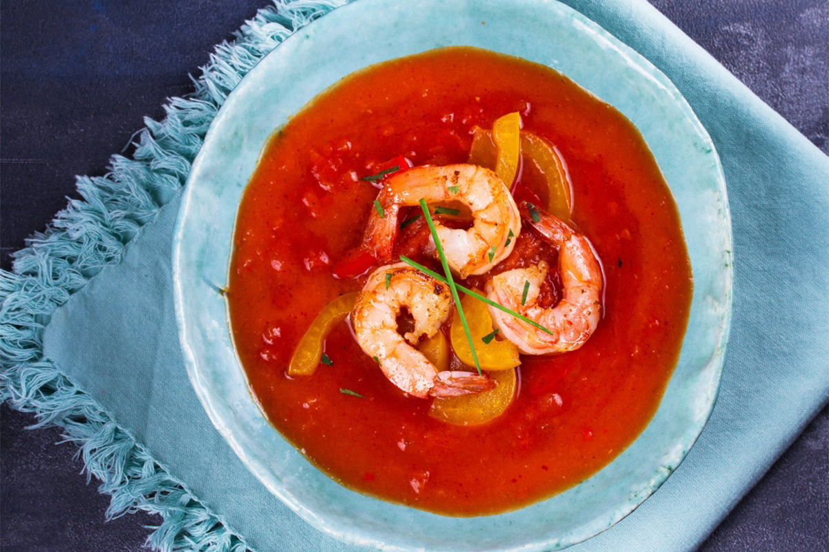 gazpacho con gamberi