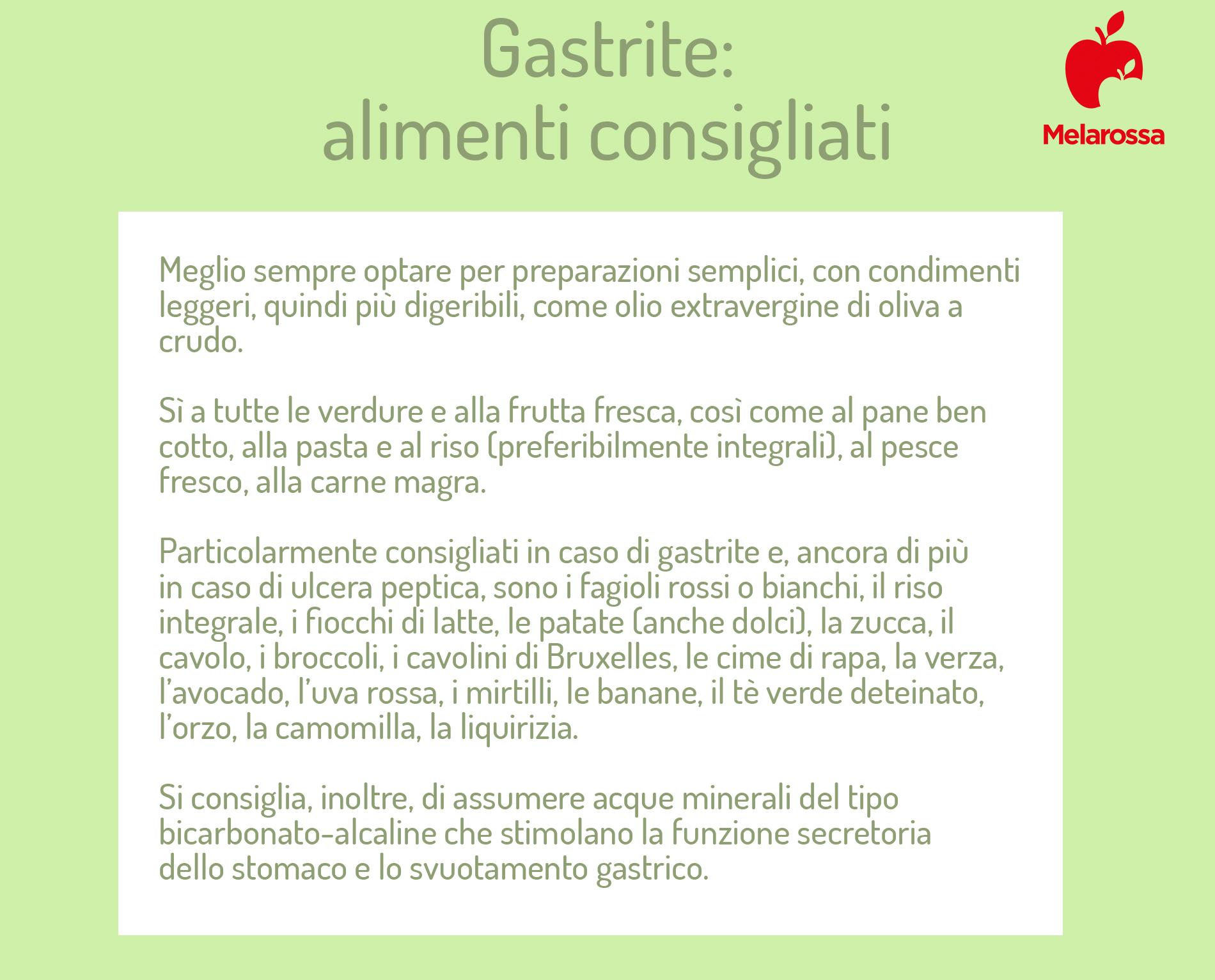 gastrite: alimenti consentiti