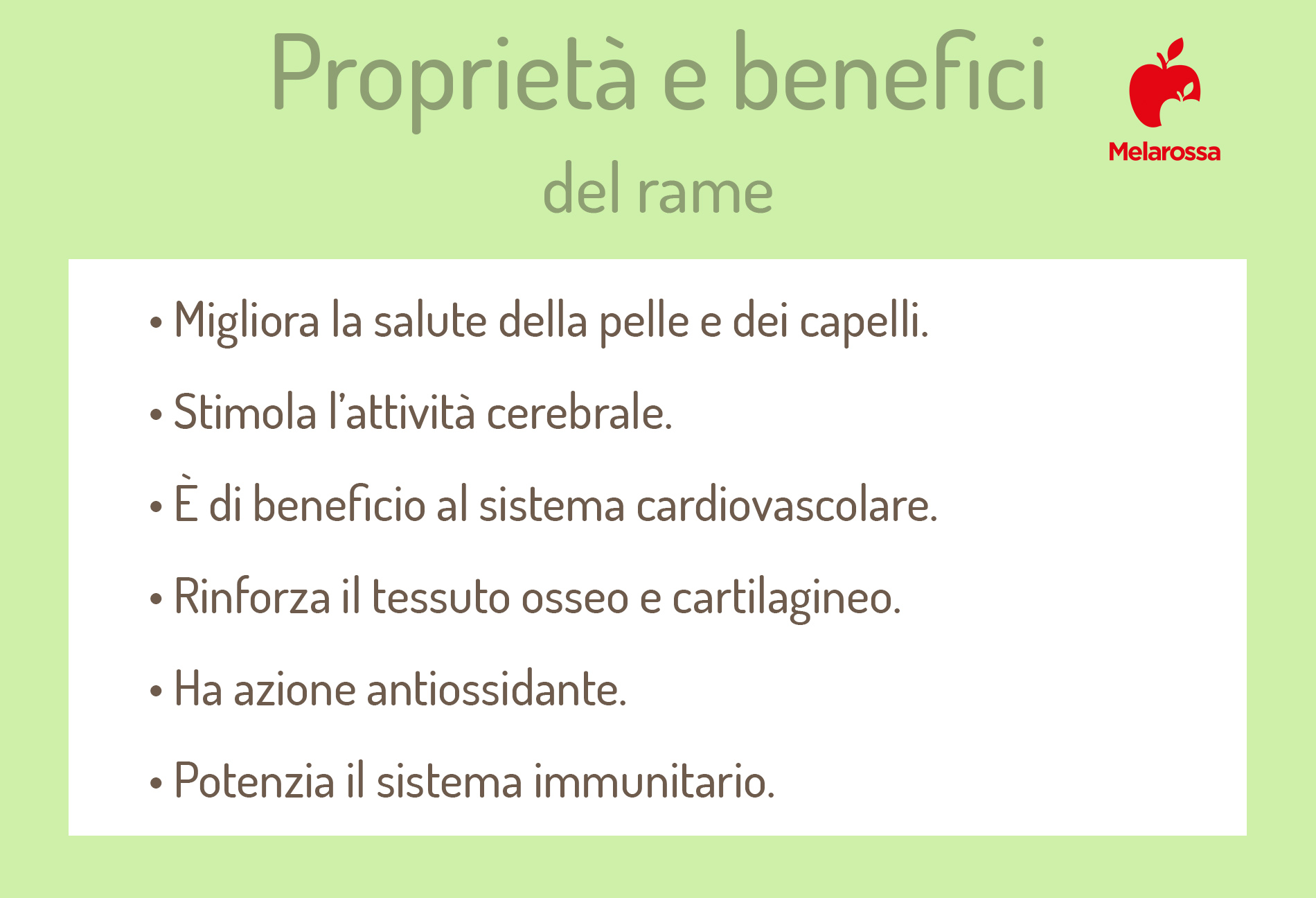 rame: proprietà e benefici