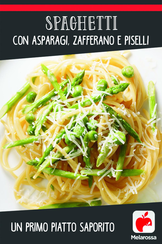 Spaghetti con asparagi, zafferano e piselli: un primo piatto saporito