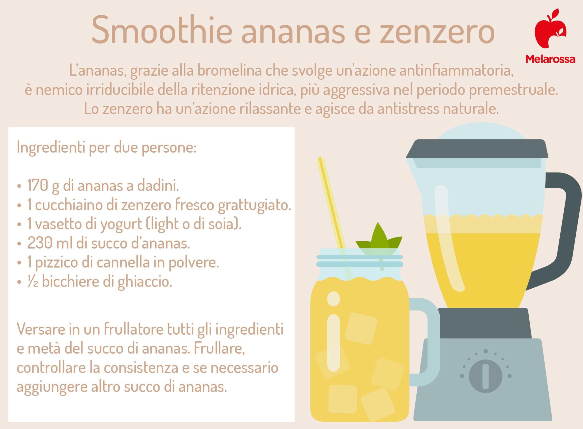 smoothie zenzero e ananas per combattere la sindrome premestruale