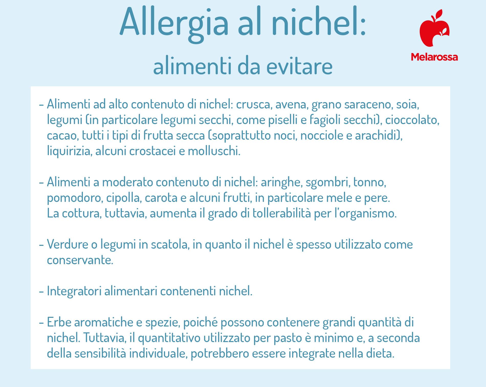 allergia al nichel e disidrosi: alimenti da evitare
