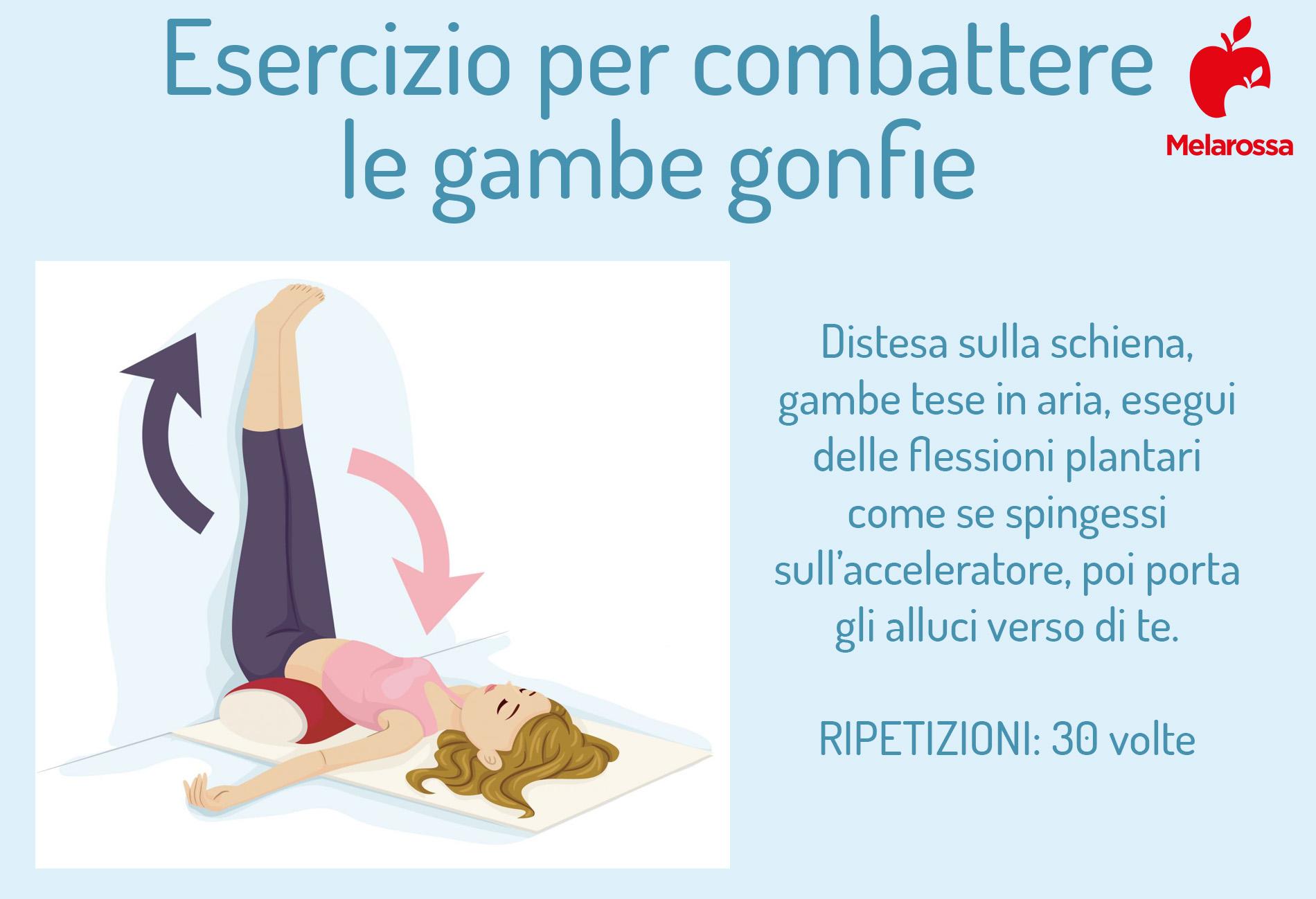 esercizio per combattere le gambe gonfie