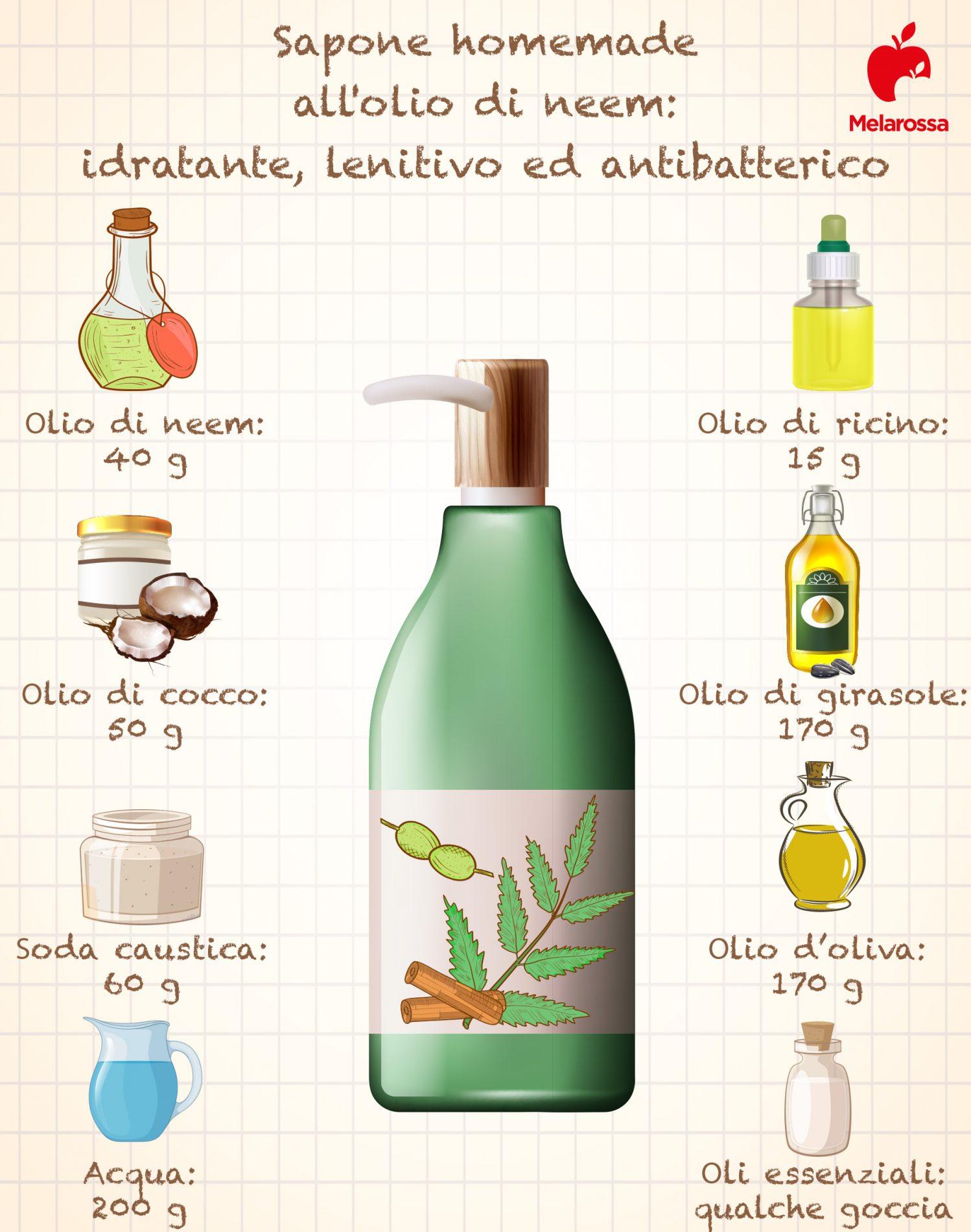 il sapone da fare in casa con olio di neem