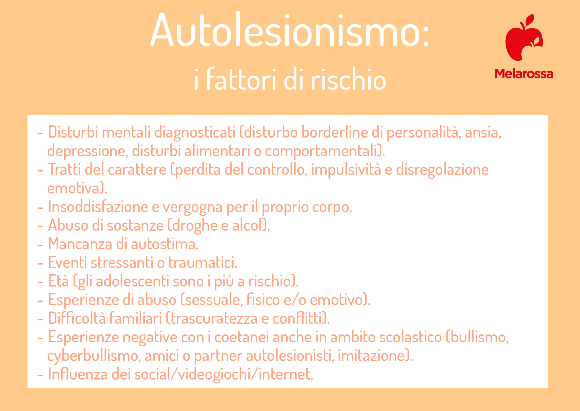 autolesionismo: fattori di rischio