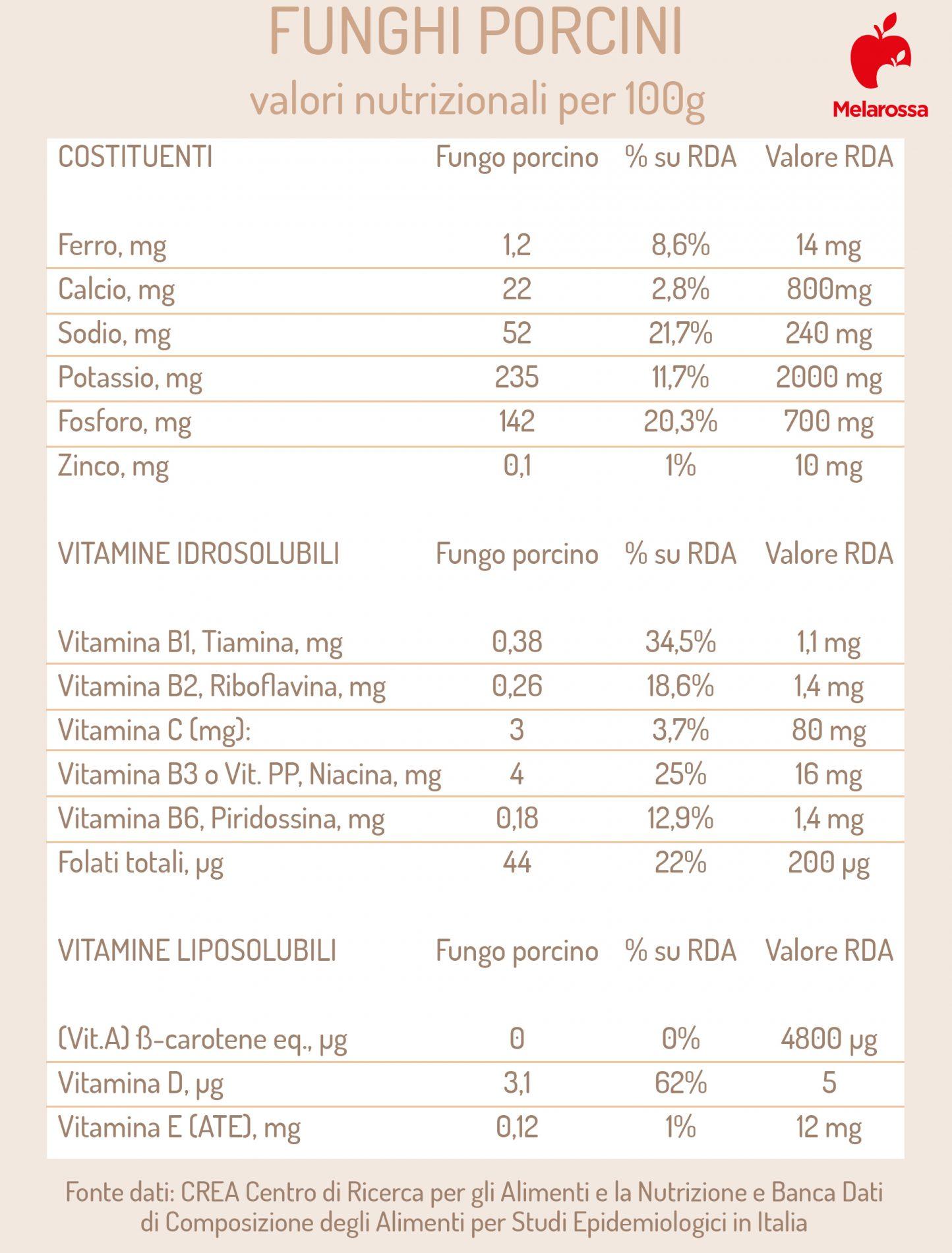 funghi porcini: valori nutrizionali